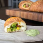 Avocado and Chorizo Stuffed Party Rolls with Creamy Avocado Cilantro Ranch Dip