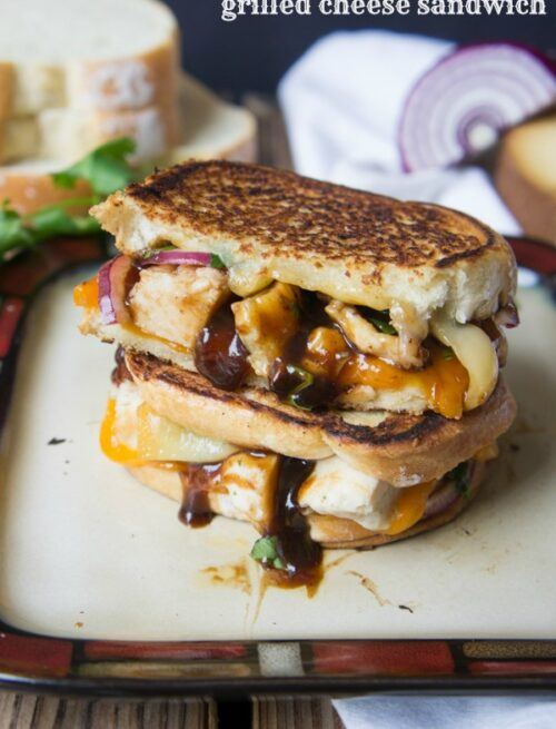 A close up of BBQ Chicken Grilled Cheese Sandwich