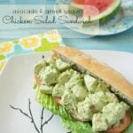 An Avocado and Greek Yogurt Chicken Salad Sandwich on a plate