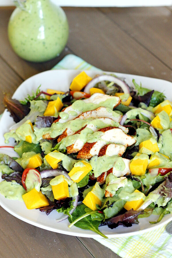 Blackened Chicken and Mango Salad with Creamy Avocado Dressing