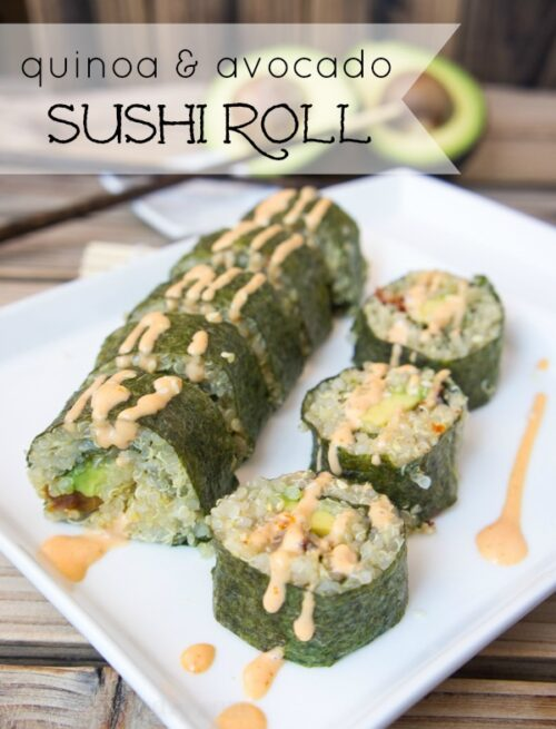 Quinoa and Avocado Sushi Rolls (with sun dried tomatoes and bacon)