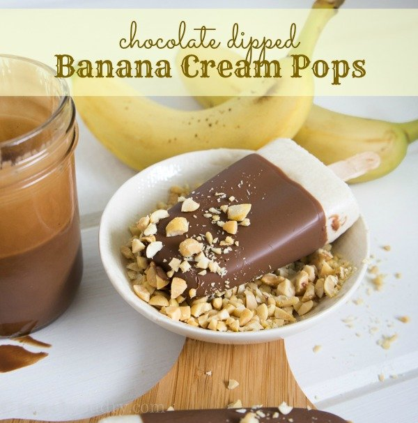 Chocolate Dipped Banana Cream Pops (with chopped nuts too)