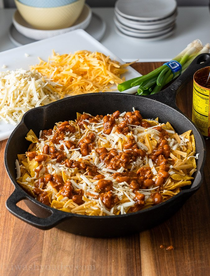 skillet nachos with chili and cheese