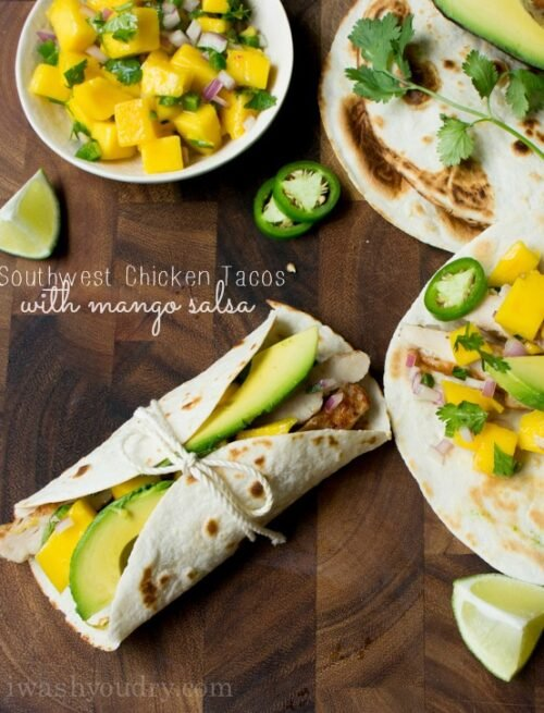 Southwest Chicken Tacos with Mango Salsa and Avocado