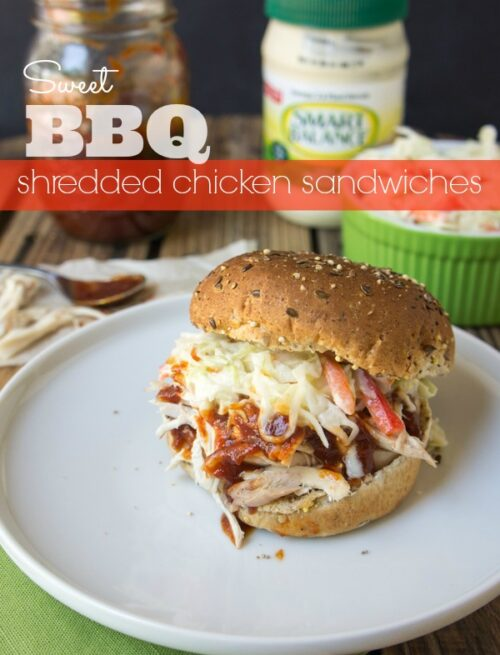 Sweet BBQ Shredded Chicken Sandwiches - Vote for this recipe by @iwashyoudry here: https://on.fb.me/1aR99jW