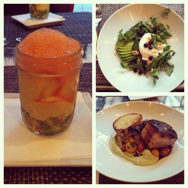 Three pictures of different foods; one a fizzy drink, one a salad and one a main dish