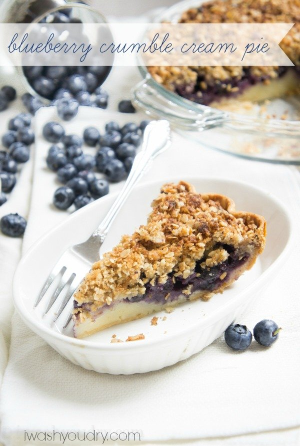 Blueberry Crumble Cream Pie! A combination of a blueberry crumble, cake and pie!!