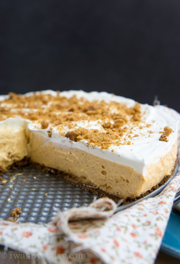 No Bake Pumpkin Cheesecake with a gingersnap crust!