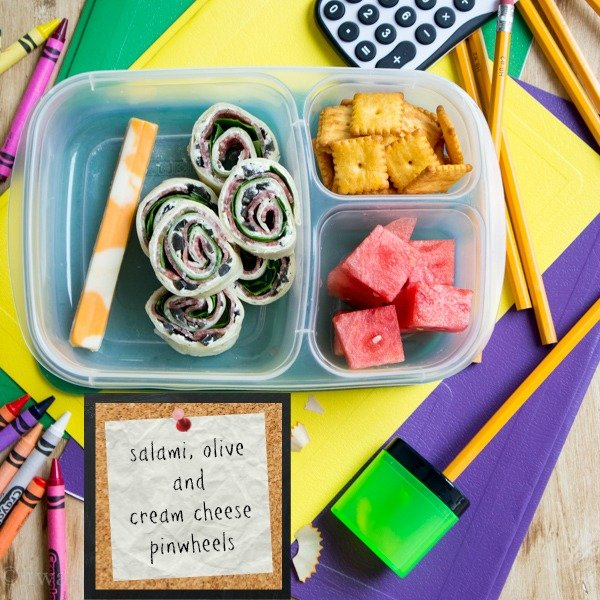 Easy back to school lunch! Salami, olive and cream cheese pinwheels!