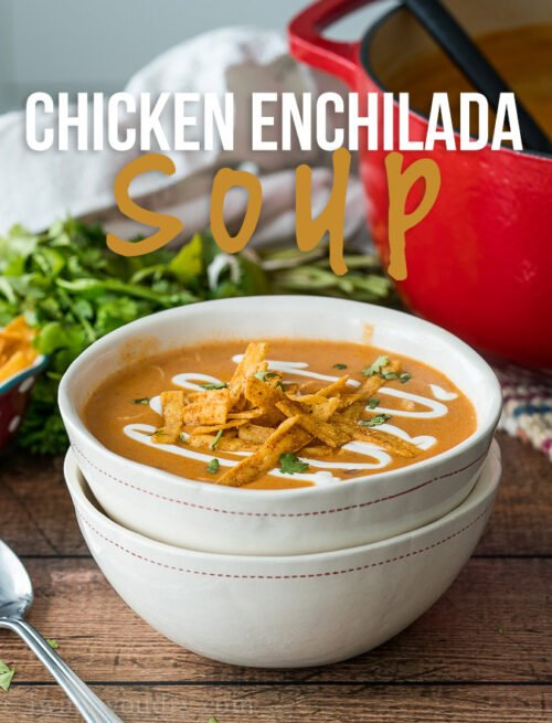 This Cheesy Chicken Enchilada Soup is so good! My whole family LOVED this super simple dinner recipe!