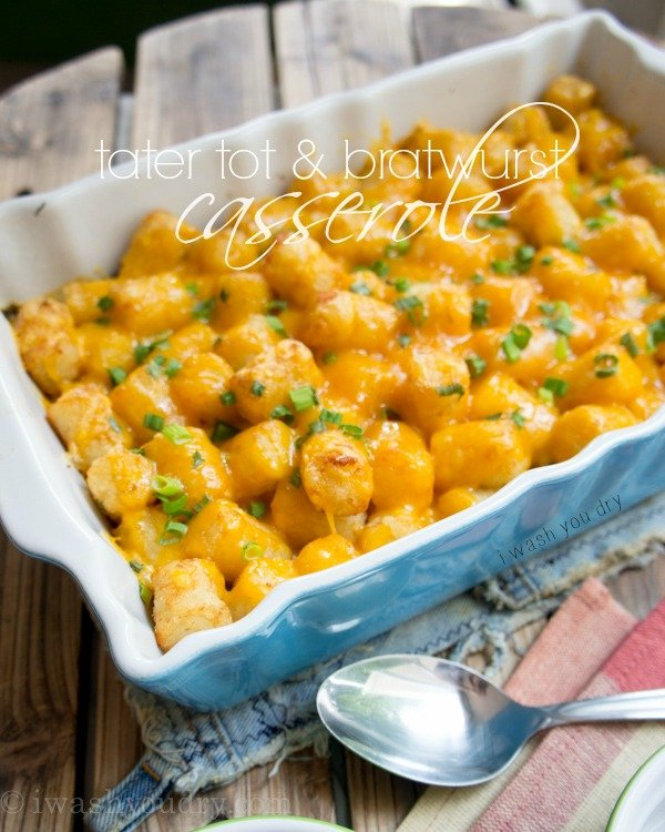 Cheesy Tater Tot & Bratwurst Casserole