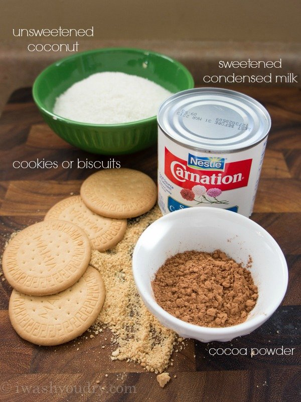 A close up of ingredients needed to make Chocolate Coconut Cooke Truffle Balls