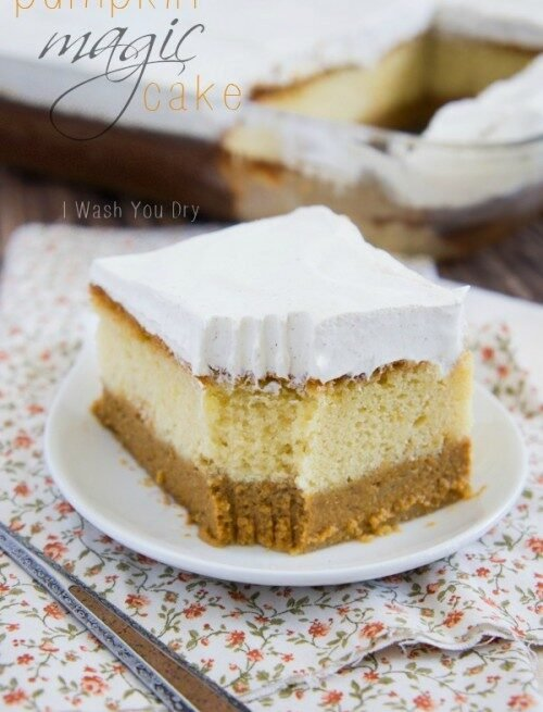 """A slice of layered pumpkin cake topped with frosting titled, """"Pumpkin Magic Cake"""""""