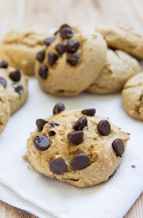 3 Ingredient Pumpkin Cloud Cookies with Chocolate Chips