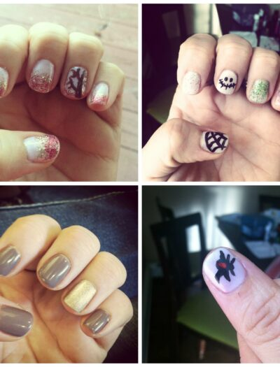A grid of 4 different pictures of close ups of fingernails with fun designs