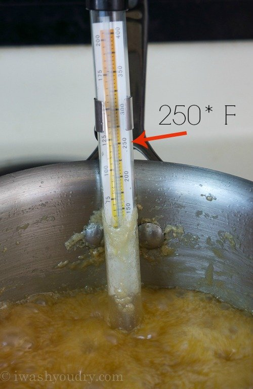 A close up of a candy thermometer