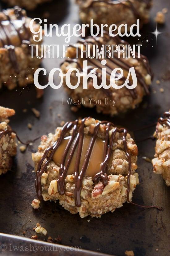 Gingerbread Turtle Thumbprint Cookies