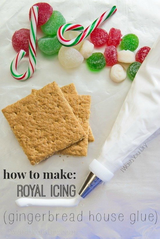This simple recipe for Royal Icing makes a perfect frosting for sugar cookies and Gingerbread House Glue!