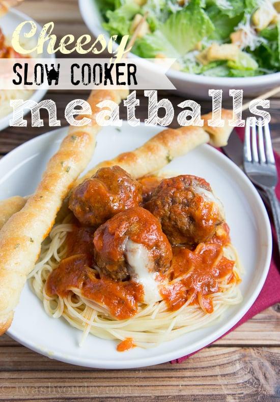 Cheesy Slow Cooker Meatballs