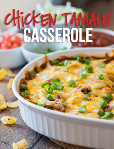 This Chicken Tamale Casserole is a quick and easy way to satisfy your craving for authentic Mexican tamales! It's a family favorite!