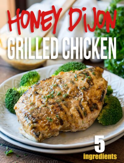 WOW! This Honey Dijon Grilled Chicken recipe is just 5 ingredients and ready in 15 minutes! My family LOVED it!!
