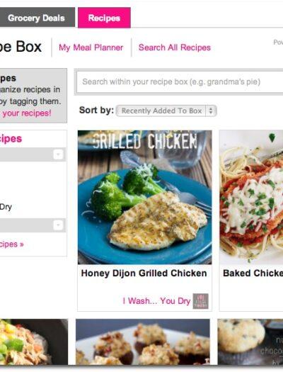 A screenshot of my recipe box on ziplist and how I organize my recipes