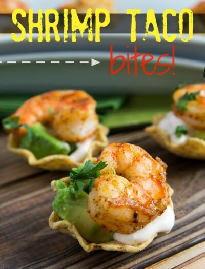 """Shrimp in mini taco shells titled, """"Shrimp Taco bites!"""""""