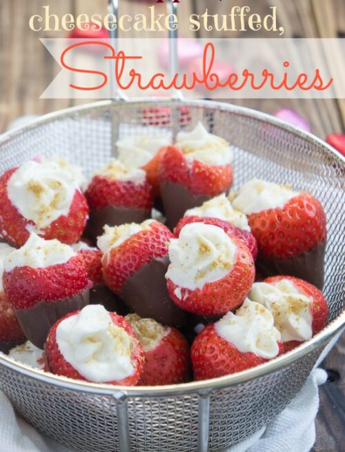 Chocolate Dipped Cheesecake Stuffed Strawberries
