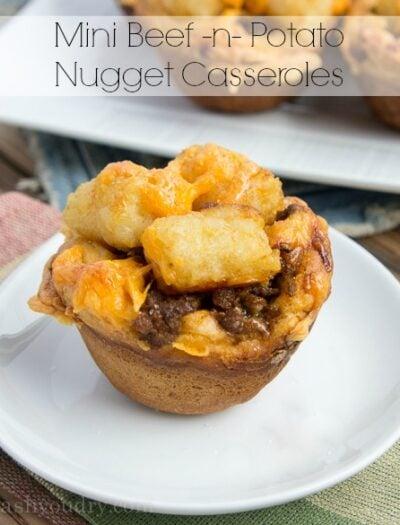 Mini Beef and Potato Nugget Casseroles
