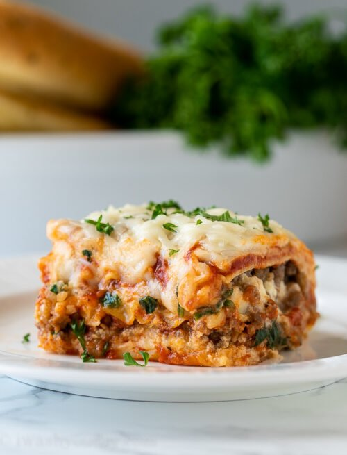 EASY Lasagna Recipe that's sliceable too!