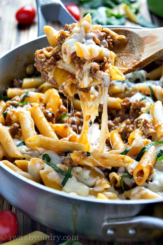 One Skillet Baked Ziti - I Wash... You Dry