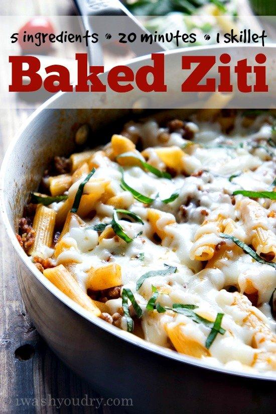 One Skillet Baked Ziti