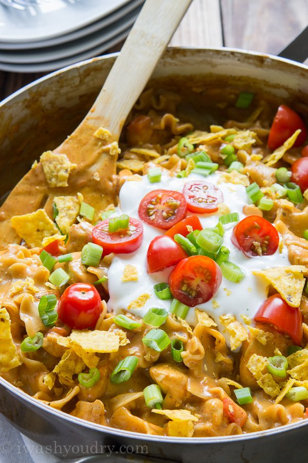 One Skillet Cheesy Chicken Nacho Supreme