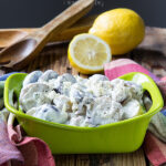 Greek Potato Salad! This salad subs mayo for greek yogurt and adds fresh dill and a burst of lemon!