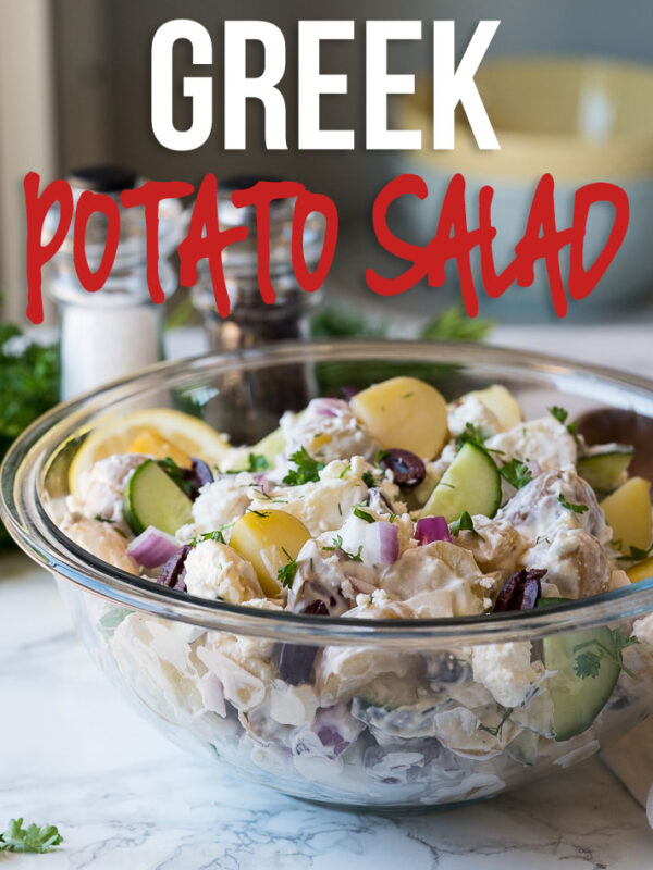 This creamy Greek Potato Salad is filled with tender potatoes, crunchy cucumbers, kalmata olives, feta cheese and red onion in a creamy dill sauce that's to die for! The perfect summer potato salad!