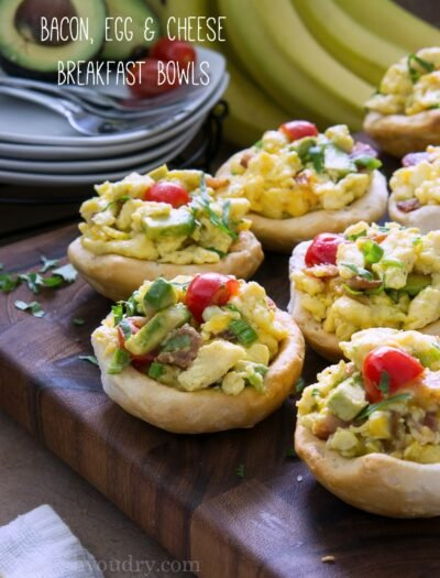 Bacon Egg and Cheese Breakfast Bread Bowls!