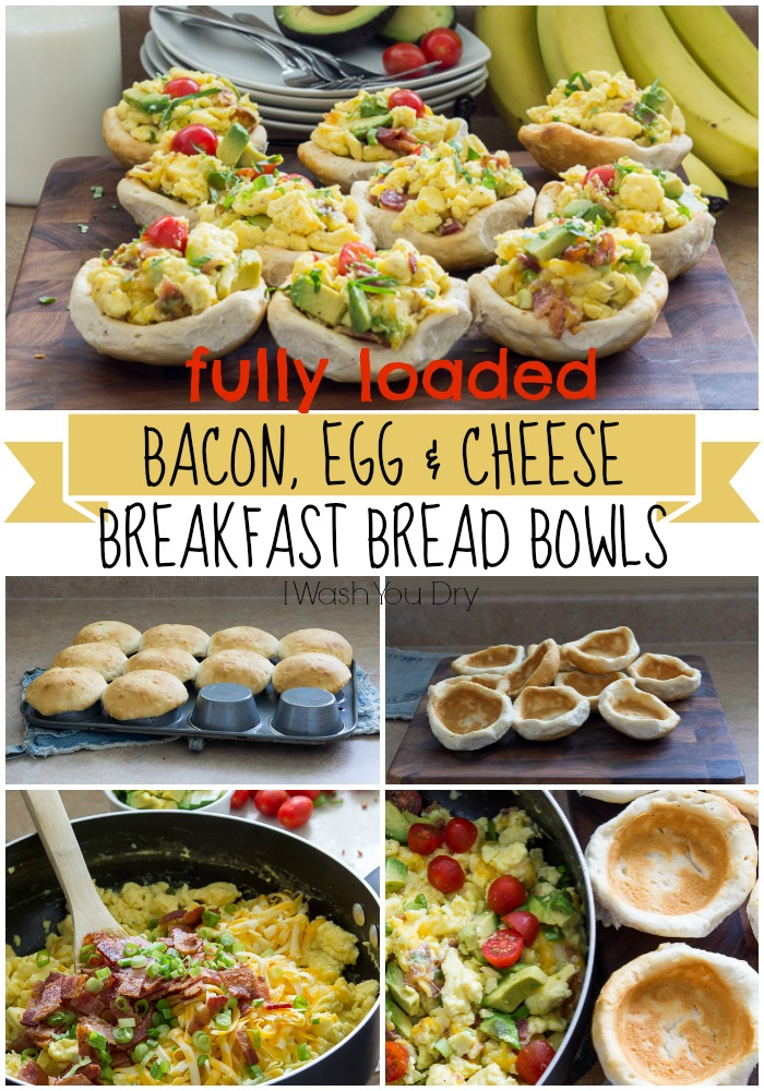 Bacon Egg and Cheese Breakfast Bread Bowls
