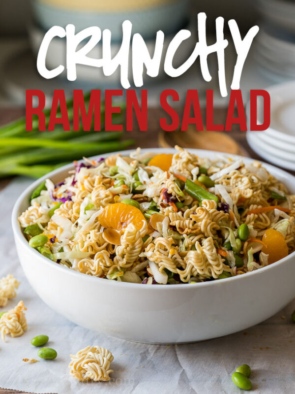 This Classic Asian Ramen Salad is a quick and easy salad to bring to parties and potlucks. Filled with crunchy ramen noodles and a sweet ginger dressing!