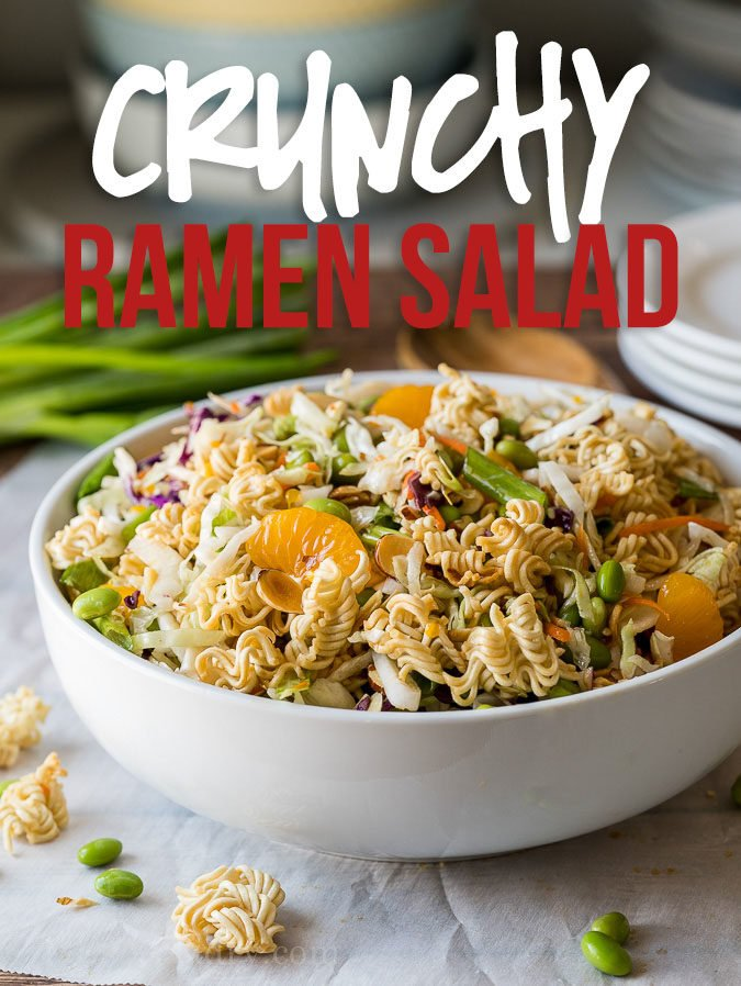 This Classic Asian Ramen Salad is a quick and easy salad to bring to parties and potlucks. Filled with crunchy ramen noodles and a sweet sesame dressing!