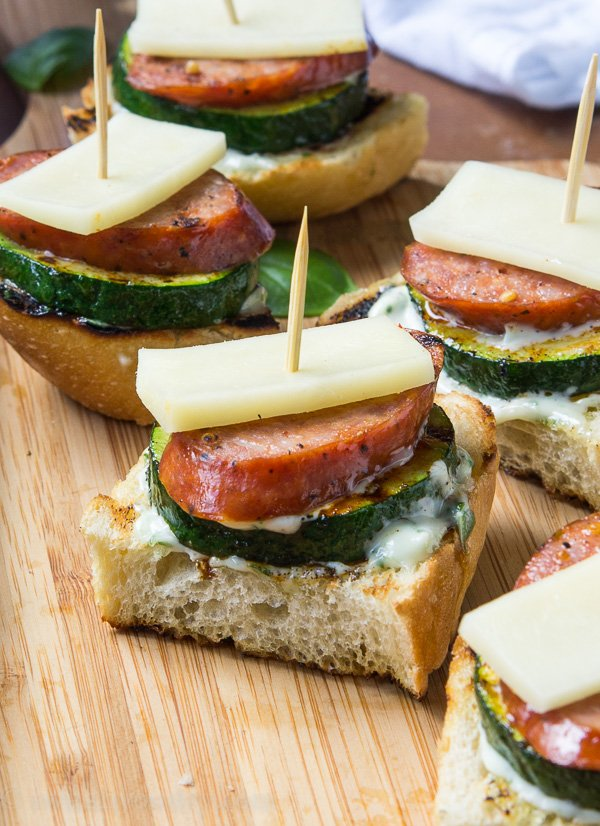 Grilled Sausage and Crostini Stackers