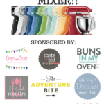 """Colorful mixers lined up with the text """"Win a 5Qt Kitchenaid Mixer!!"""" above them and a list of giveaway sponsors on the bottom"""