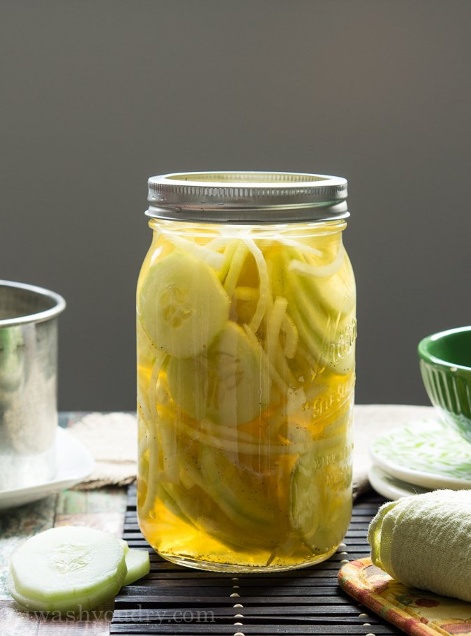 Quickles! It's a quick pickle of sliced cucumbers and sweet onions. So addictive and a fresh (low calorie) snack!