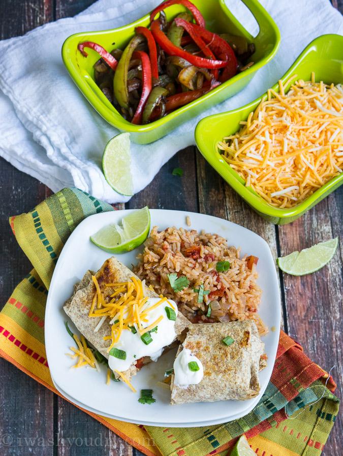 Baked Chicken Fajita Burritos
