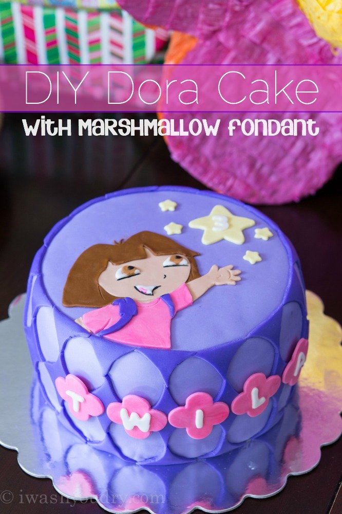 DIY Dora Cake with Marshmallow Fondant