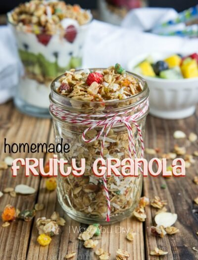 Homemade Fruity Granola made with coconut oil, honey and little bits of shredded coconut, sliced almonds and a pop of fruity flavor from Trix!