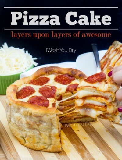 "A pizza cake with a slice being removed titled, ""Pizza Cake: layers upon layers of awesome"""