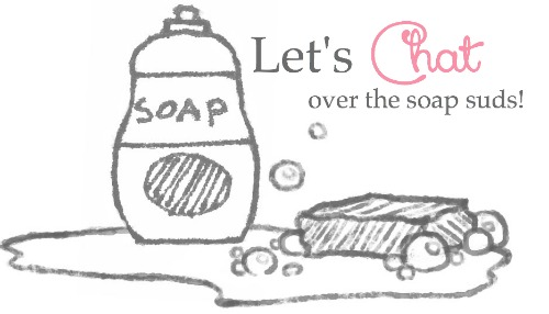 """A sketch of a soap bottle and a bar of soap with \""""Let\'s Chat over the soap suds\"""" written above them"""