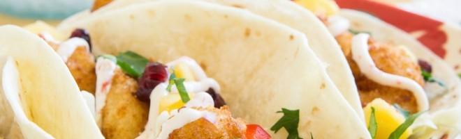 Crispy Shrimp Tacos with a Mango-Cranberry Salsa!