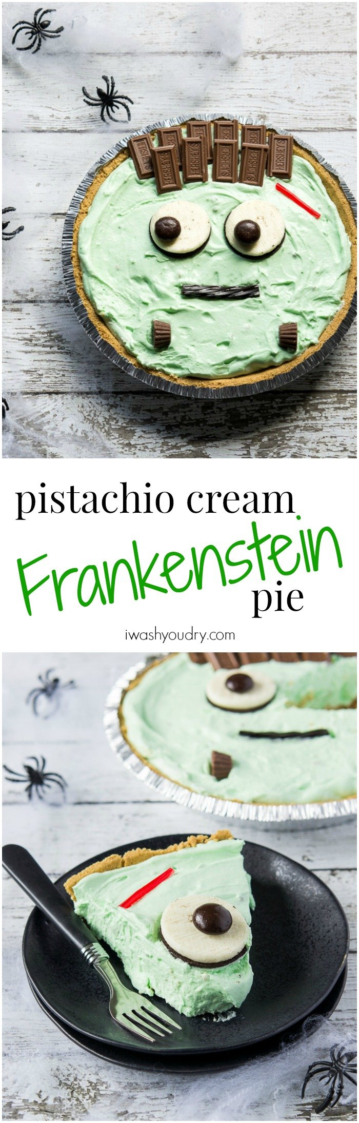 Pistachio Cream Frankenstein Pie! The perfect last-minute easy Halloween treat!