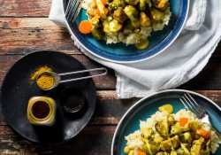 Curry Roasted Chicken and Brussel Sprouts over a creamy parsnip mash and topped with a creamy yellow curry sauce. A #lowcarb easy dinner that comes together in minutes!